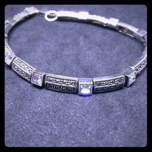 Vtg Judith Jack Sterling Marcasite Glass Bracelet
